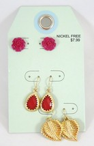 One Dozen New Earring Sets with Roses Gold Leaf... - $7.52