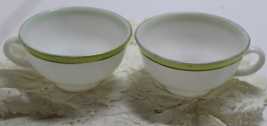Two Vintage PYREX Milk Glass Tea Cups in Green with Gold - $8.00