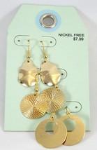 One Dozen New Wholesale Shiny Gold 3 Piece Earr... - $7.52