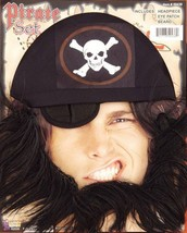 New Pirate Adult Costume Accessory Kit with Beard Eyepatch & Headpiece - $5.89
