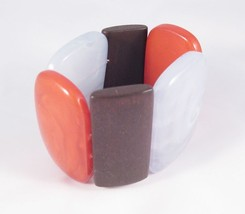 "New Large 2"" Wide Classy Designed Stretch Bracelet In Fall Colors #B1190 - $4.99"