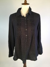 Vintage America Blues Womens Blouse Top Large Black Buttons Long Sleeves... - $11.51