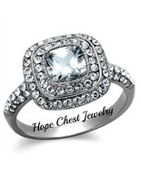 WOMEN'S SILVER STAINLESS STEEL 1 CT CUSHION CUT CZ ENGAGEMENT RING SIZE ... - $15.29