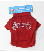 Dog Pet Shirt Small Red Blingy Studded Bone Des... - $4.99