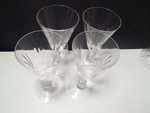 "4 ELEGANT 6 1/4"" CRYSTAL CUT WINE GLASSES~unknown maker~~hve more sizes - $6.95"