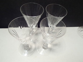 "4 ELEGANT 6 1/4"" CRYSTAL CUT WINE GLASSES~unknown maker~~hve more sizes - $6.95"