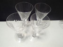 "4 ELEGANT 6 1/4"" CRYSTAL CUT WINE GLASSES~unkno... - $6.95"