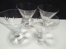"4 ELEGANT 4"" CRYSTAL CUT WINE GLASSES~unknown m... - $6.95"