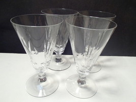 "4 ELEGANT 5 3/4"" CRYSTAL CUT WINE GLASSES~unknown maker~~hve more sizes - $6.95"