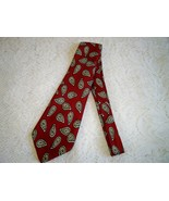 SALE! Vintage 1940s Mens Swing Era Necktie Red Gold Paisley Print - $11.99