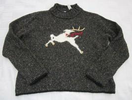 Christmas Sweater Villager Liz Claiborne Leaping Deer Flecked Tweed Peti... - $14.24