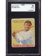 Babe Ruth 1933 Goudey #53 Baseball Card SGC 30 GOOD 2 - $3,999.00