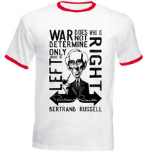 BERTRAND RUSSELL WAR QUOTE - RED RINGER COTTON TSHIRT - $26.88