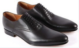 Handmade mens black Oxford leather shoes, Classic Mens black dress shoes,  - $159.99
