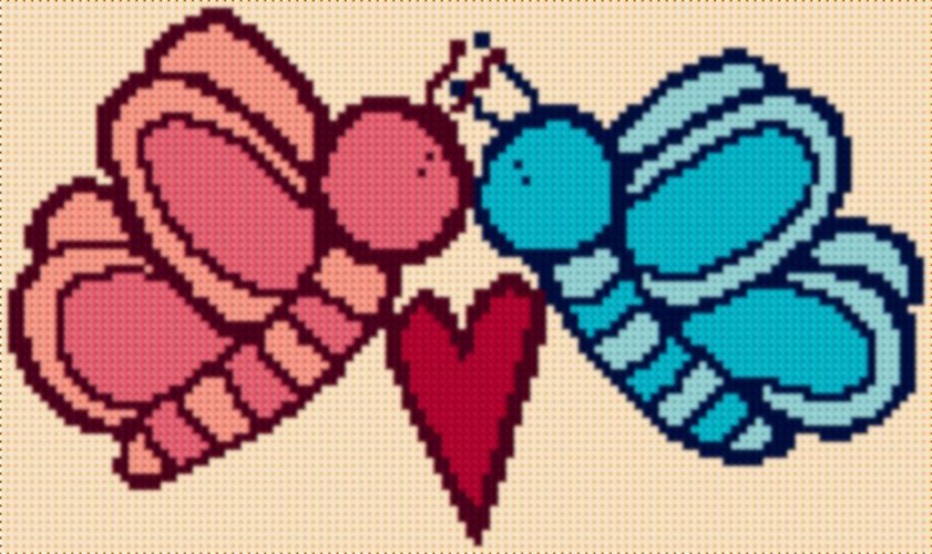 Latch Hook Rug Pattern Chart Butterfly Kiss And 50 Similar Items