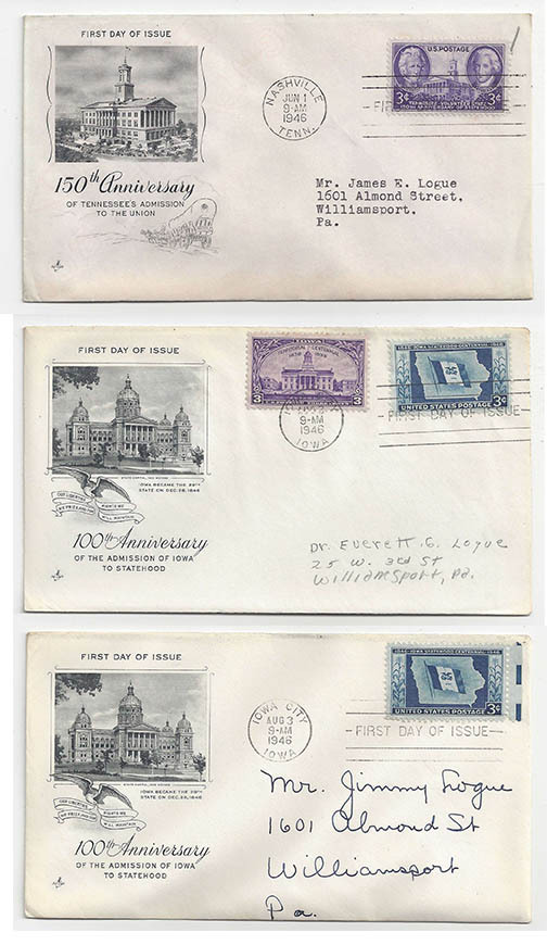 Primary image for  FDC Lot of 3 First Day Covers Sc 941 Tennessese 942 Art Craft Cachet Iowa Combo