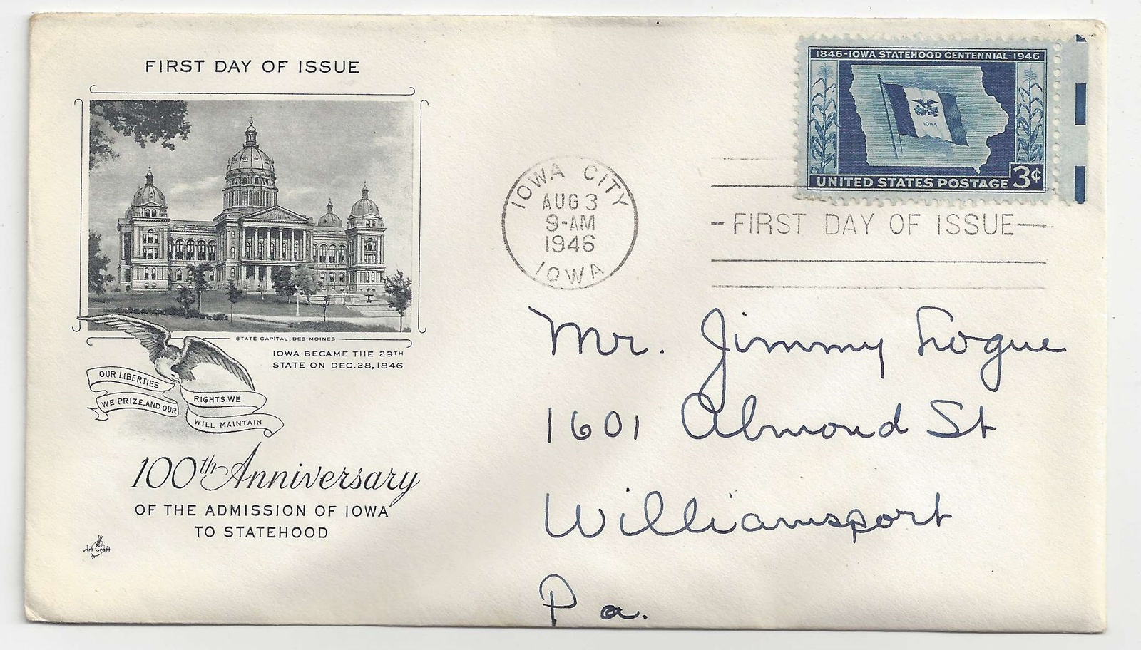 FDC Lot of 3 First Day Covers Sc 941 Tennessese 942 Art Craft Cachet Iowa Combo