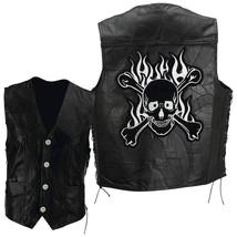 Mens Leather Biker Motorcycle Harley Rider Chopper Vest Skull Patch Size XL - $35.99