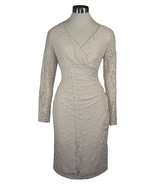 14 LAUREN Champagne Lace Surplice Stretch lace Sheath Cocktail Dress NWT $174 - $77.59