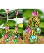Vintage Aurora Borealis Pastel Crystal Bead Dangle Earrings AB Clips - $15.95
