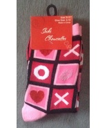 1 Pair Ladies Women's Valentine's Day Sock XX OO Hearts size 9-11 4-10 - $2.99