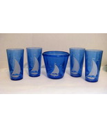 5 Piece Hazel Atlas Blue Sailboat Pieces.   Tum... - $35.00