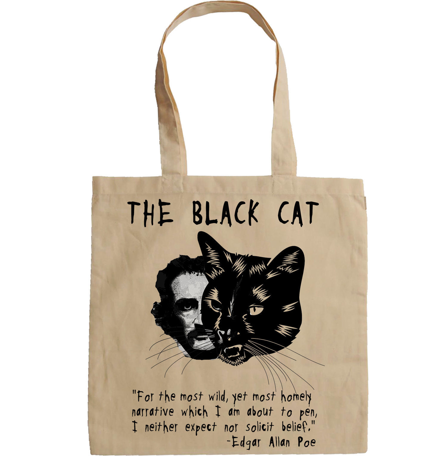 Primary image for EDGAR ALLAN POE THE BLACK CAT - NEW AMAZING GRAPHIC HAND BAG/TOTE BAG