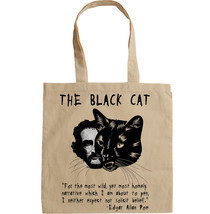 EDGAR ALLAN POE THE BLACK CAT - NEW AMAZING GRAPHIC HAND BAG/TOTE BAG - $23.63