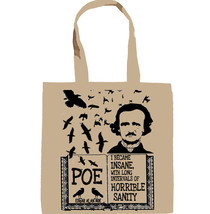EDGAR ALAN POE HORRIBLE SANITY - NEW AMAZING GRAPHIC HAND BAG/TOTE BAG - $23.60