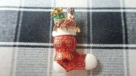 Vintage Enamel Xmas Christmas Stocking Toys Brooch by Monet 5.3cm - $12.47