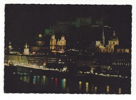 Austria Salzburg Festival City Night Cathedral Vtg Postcard 4X6 Festspie... - $4.99