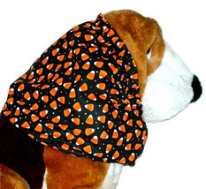 Handmade Dog Snood Halloween Black Orange Candy Corn Cotton Size Large - $14.00