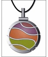 Bohin Wave Lime/Orange Thread Cutter Pendant w/black leather cord - $18.50