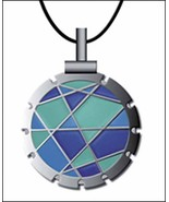 Bohin Jewel Blue/Lime Thread Cutter Pendant w/black leather cord - $18.50