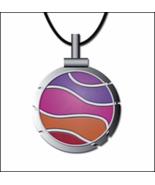 Bohin Wave Fuschia/Violet Thread Cutter Pendant w/black leather cord - $18.50