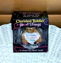 Cherished Teddies U Make My Heart Smile Heart Strings Figurine MIB - $4.49