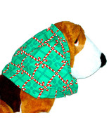Dog Snood-Candy Cane Squares Cotton-Christmas-Cavalier Puppy SHORT CLEAR... - $4.75