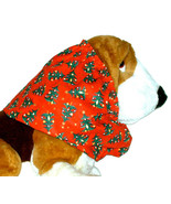 Dog Snood-Decorated Christmas Trees Red Cotton-Basset-Afghan-Puppy REGULAR - $10.50