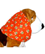 Dog Snood-Christmas Red Candy Canes Holly Cotton-Basset Hound-Setter-Large - $12.50