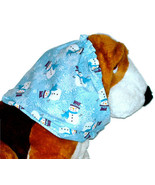 Dog Snood-Blue Sparkle Snowmen Cotton-Christmas-Basset Hound-Springer-Large - $12.50