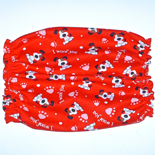 Dog Snood-Red Valentines Day I Woof You Long Eared Pups Cotton-Bloodhound-XL
