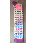 1 Pair Ladies Women's Grey With Purple & Blue Hearts Socks Knee High One... - $4.99
