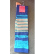 1 Pair Ladies Women's Blue, Light Blue & Orange Striped Socks Knee High ... - $4.99