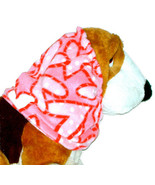 Dog Snood-Pink Red Dotted Hearts Fleece-Cavalier KC Spaniel-Cocker-Puppy... - $9.50