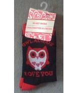 1 Pair Ladies Women's Valentine's Day Sock Owl ... - $2.99