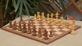 "Combo of Staunton Chess Pieces & Walnut Maple Chessboard - 4.0"" - SKU: C... - $363.98"