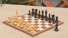 Combo of Staunton Dyed/Stained Chess Pieces & Walnut Maple Chessboard C0505 - $241.98