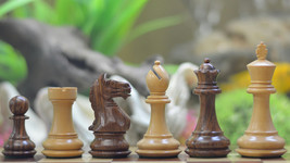 "Fierce Knight Staunton Wooden Chess Pieces in Shesham & Box Wood-3.5"" King S1252 - $119.99"