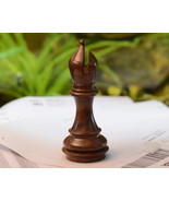 """Giant Monstrous Bishop Chess Piece in Shesham Wood Paper Weight - 5.1"""" P... - $14.99"""