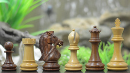 "Bridle Knight Series Chess Pieces in Shesham (Golden) & Box Wood-4.1"" King S1221 - $180.99"